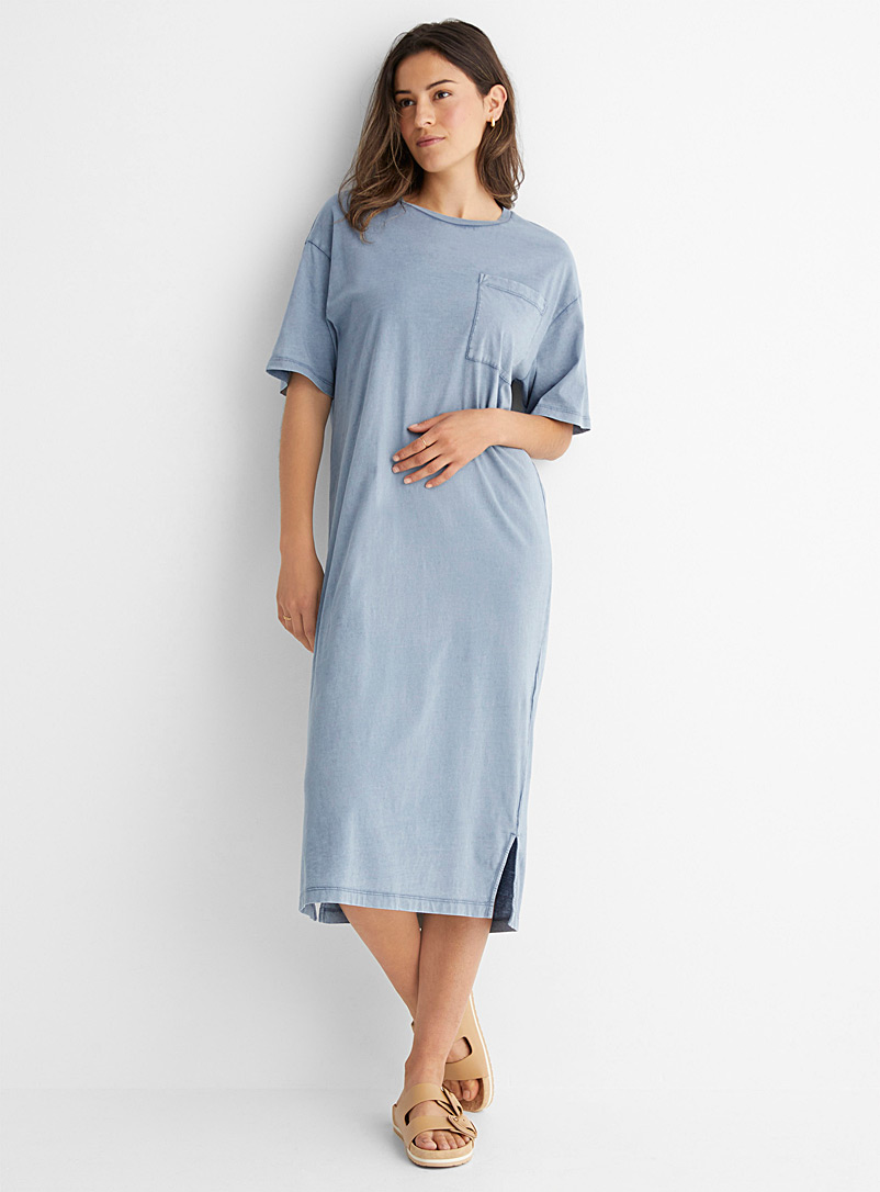 Drykorn Baby Blue Takena faded T-shirt dress for women