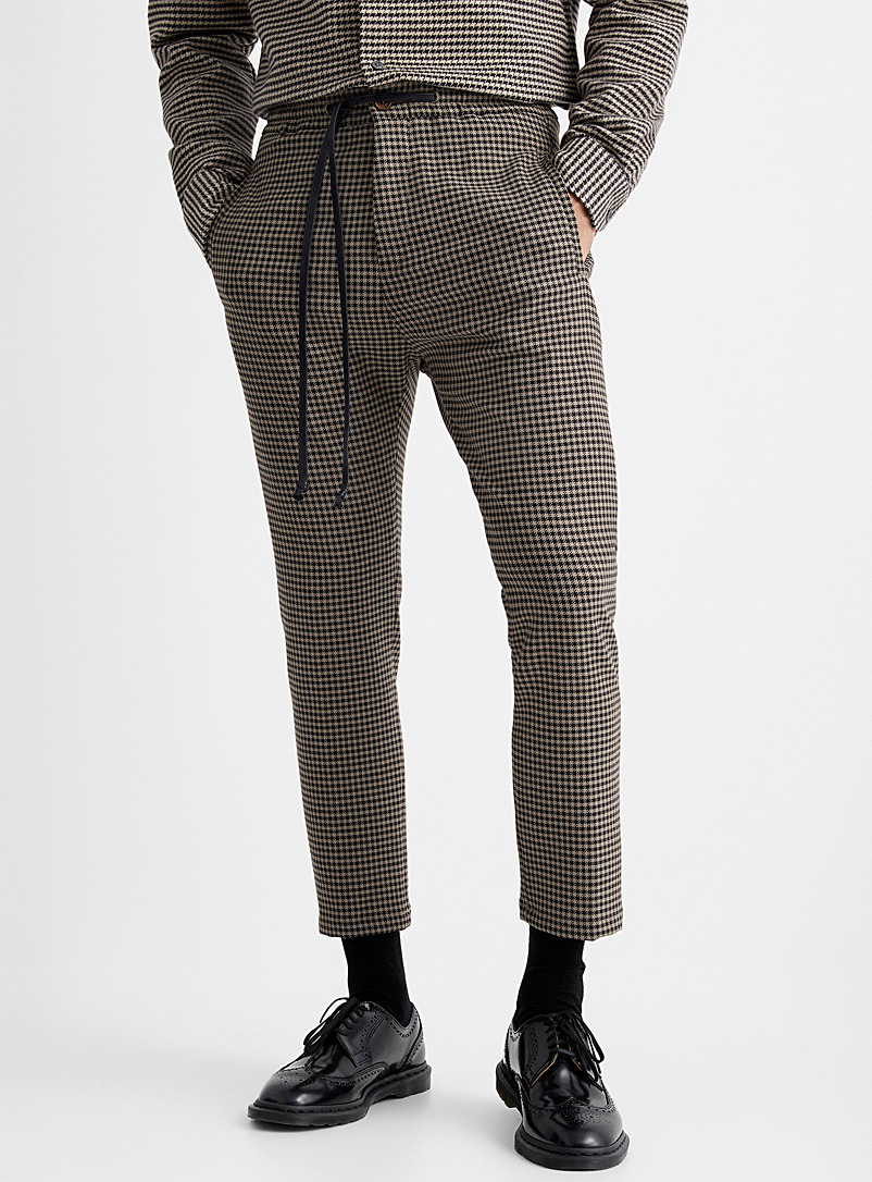 Drykorn Light Brown Houndstooth joggers  Straight, slim fit for men