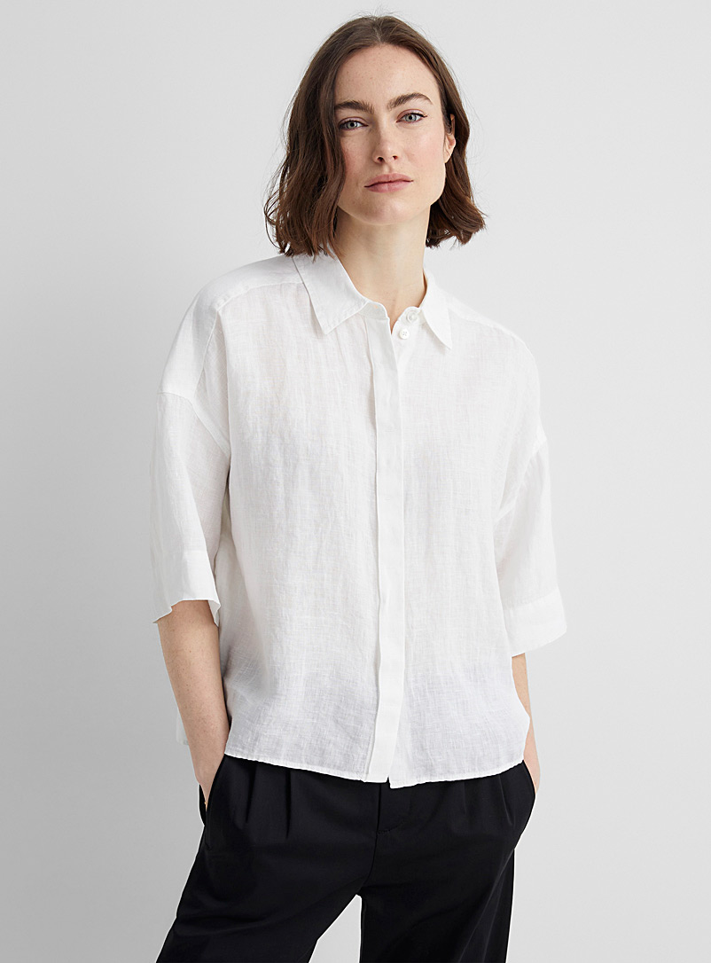 Drykorn White Therry loose linen shirt for women