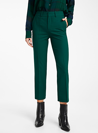 Side forest green straight pant