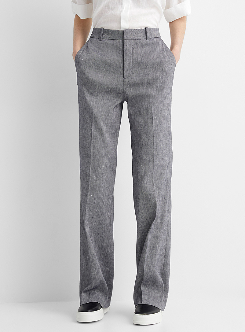 Drykorn Blue Byde heathered twill wide-leg pant for women