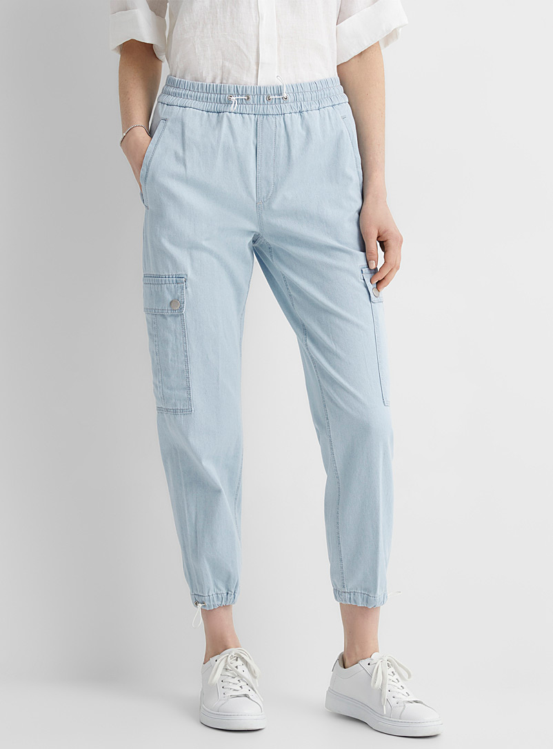 Drykorn Baby Blue Fall faded denim cargo pant for women
