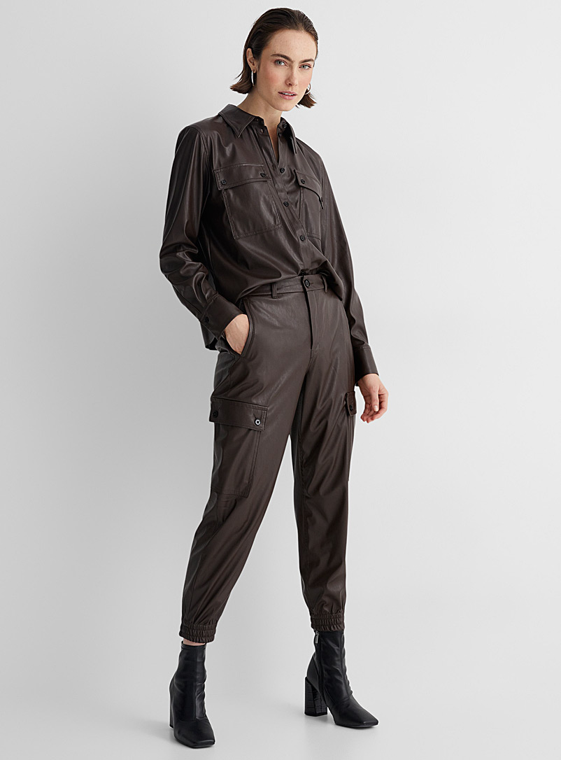 Drykorn Brown Freight faux-leather cargo pants for women