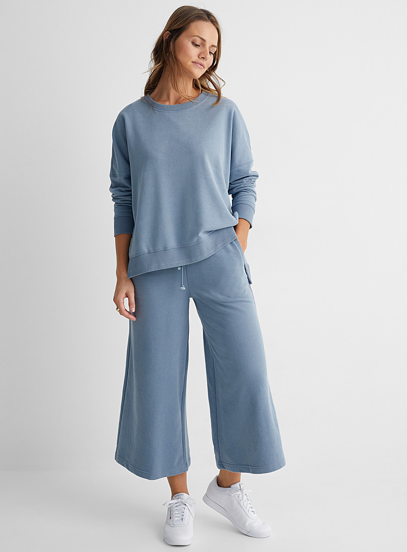 Drykorn Baby Blue Quiet wide-legged, cropped, terry pants for women