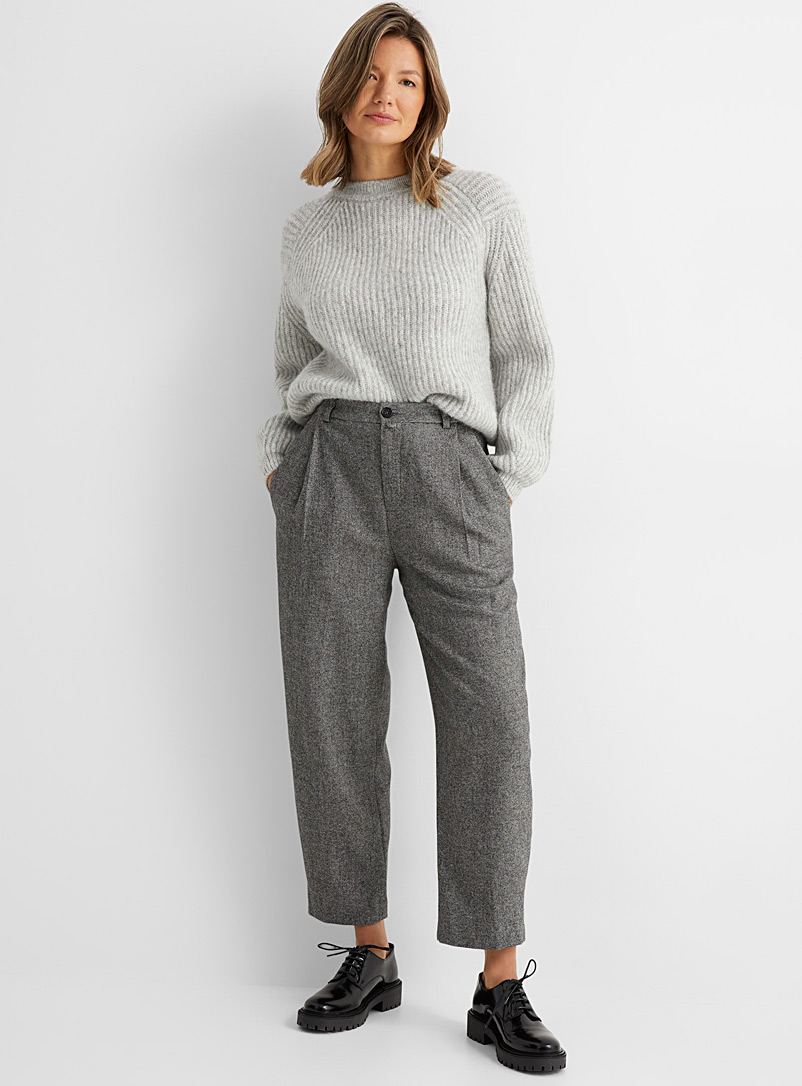 Drykorn Dark Grey Early pleated balloon pant for women