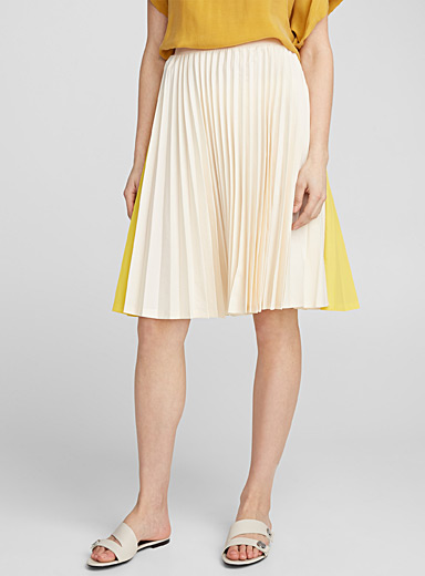 Jolanda yellow block pleated skirt