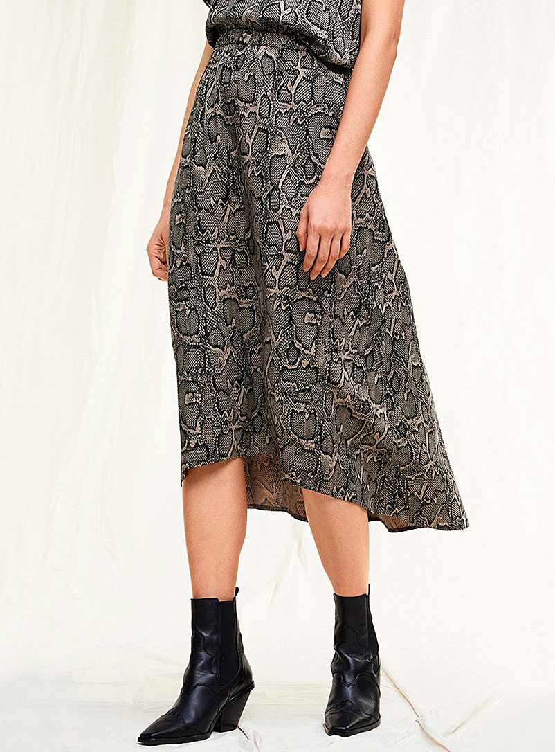Drykorn Patterned Ecru Rahel snakeskin pattern skirt for women