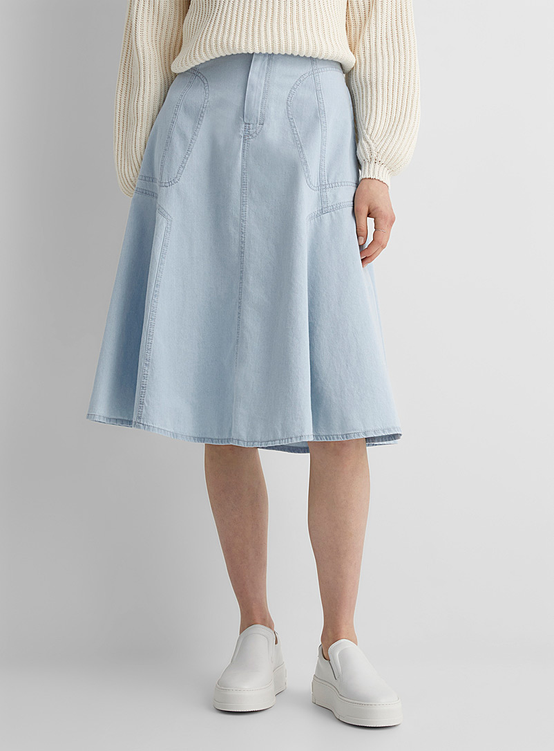 Drykorn Baby Blue Octaria faded denim midi skirt for women