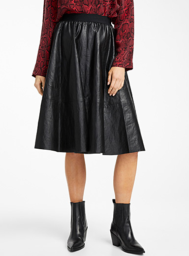 Jaloma faux-leather full skirt