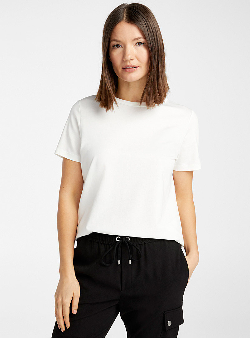 Drykorn Ivory White Anisia ivory lyocell tee for women