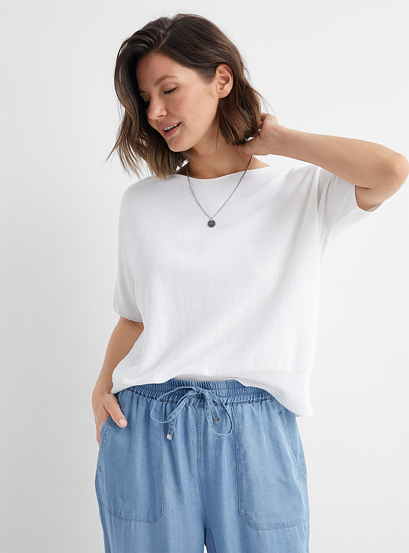Drykorn White Someli lightweight loose sweater for women