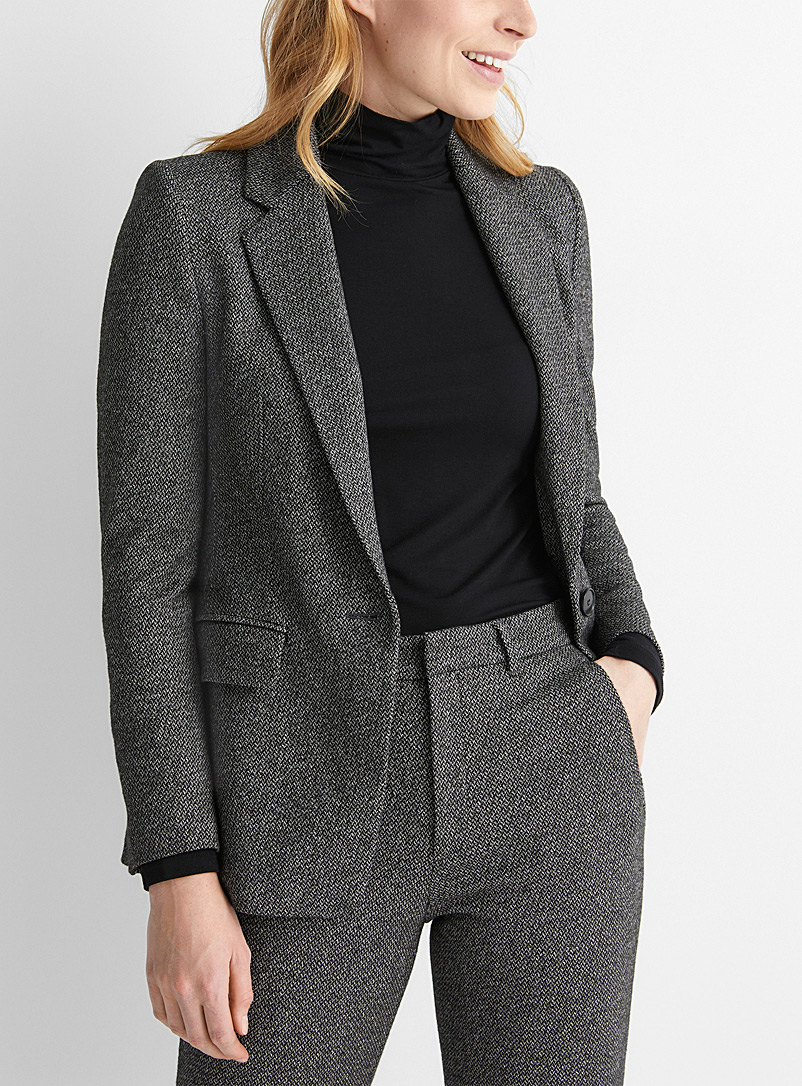 Drykorn Patterned Grey Atlin tweed jacket for women