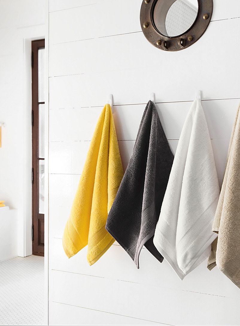 Braided border Turkish cotton towels - Solid - White