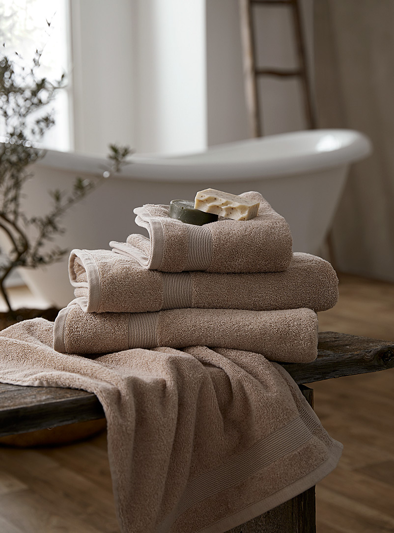 Braided border Turkish cotton towels - Superior Quality - Light Brown