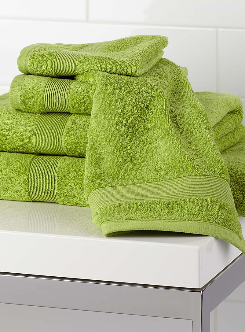 Simons Maison Lime Green Braided border Turkish cotton towels