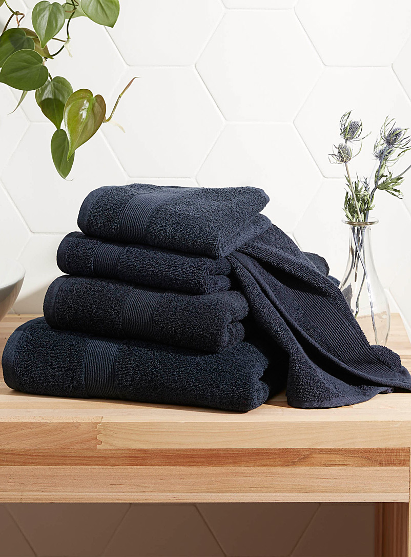 Braided border Turkish cotton towels - Superior Quality - Marine Blue