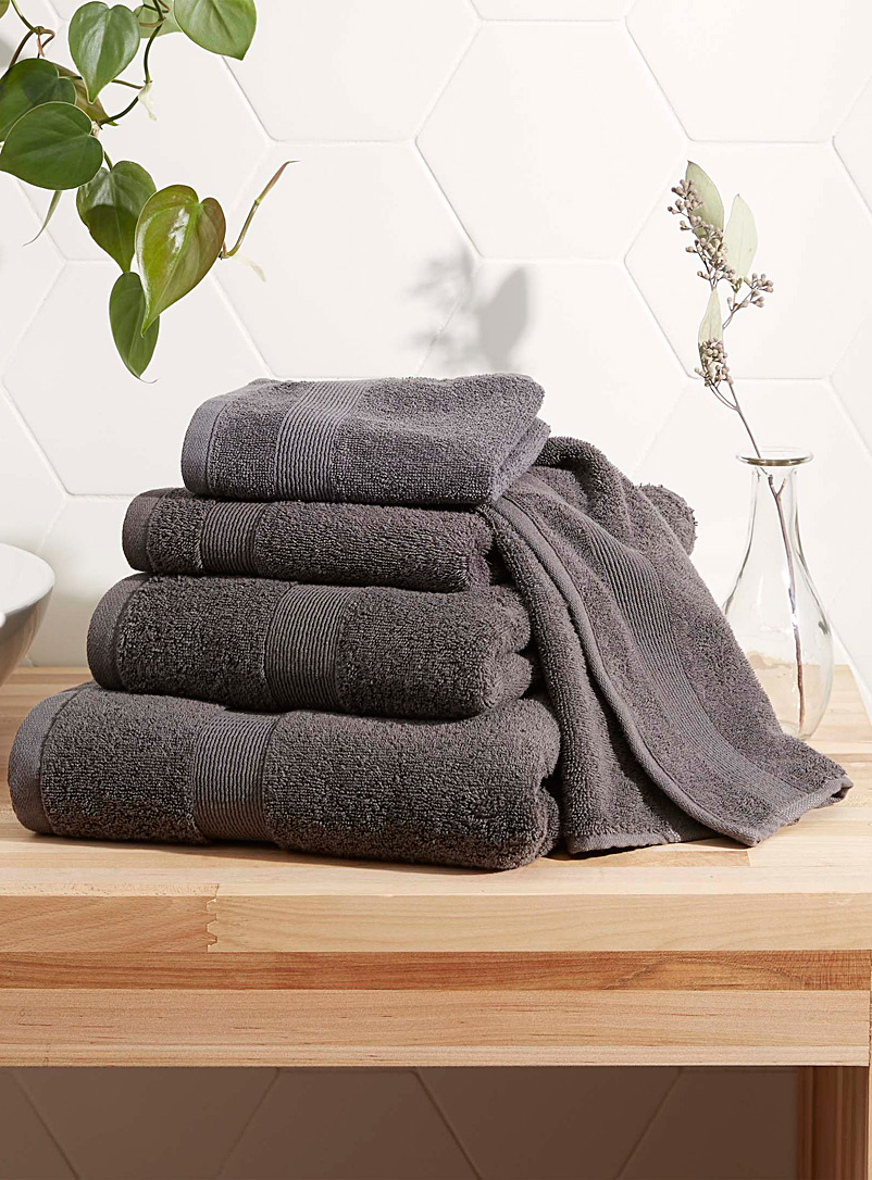 Simons Maison Dark Grey Braided border Turkish cotton towels