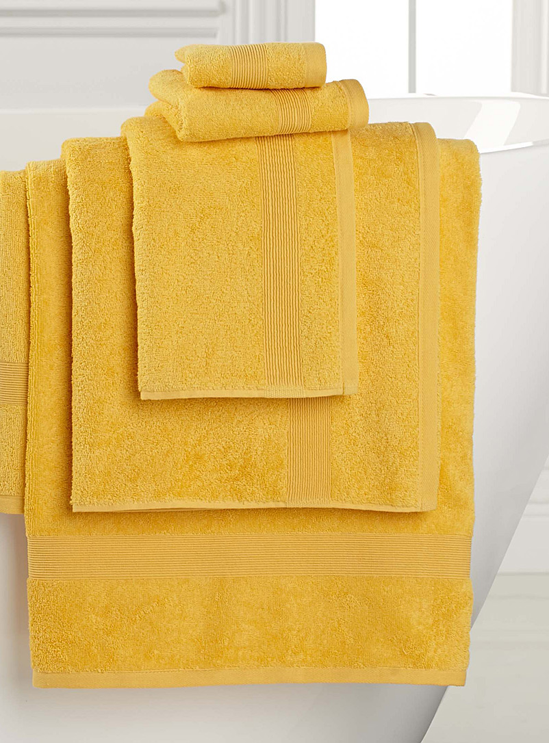 Braided border Turkish cotton towels - Solid - Light Yellow