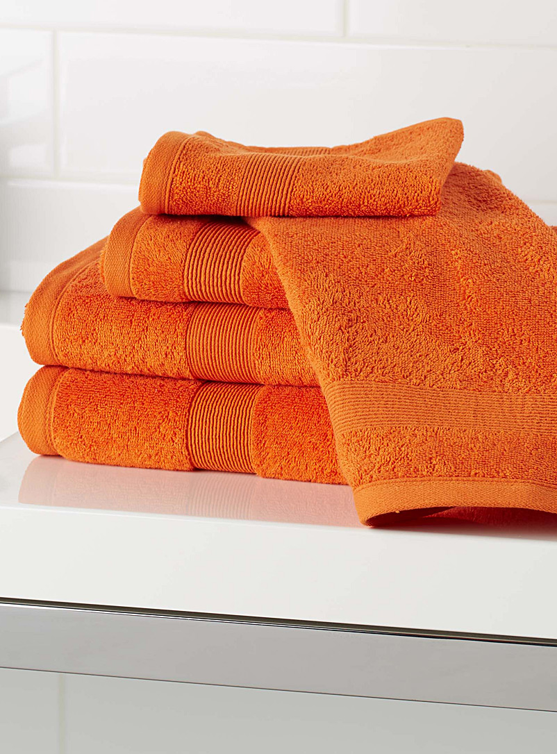 Braided border Turkish cotton towels - Solid - Tangerine