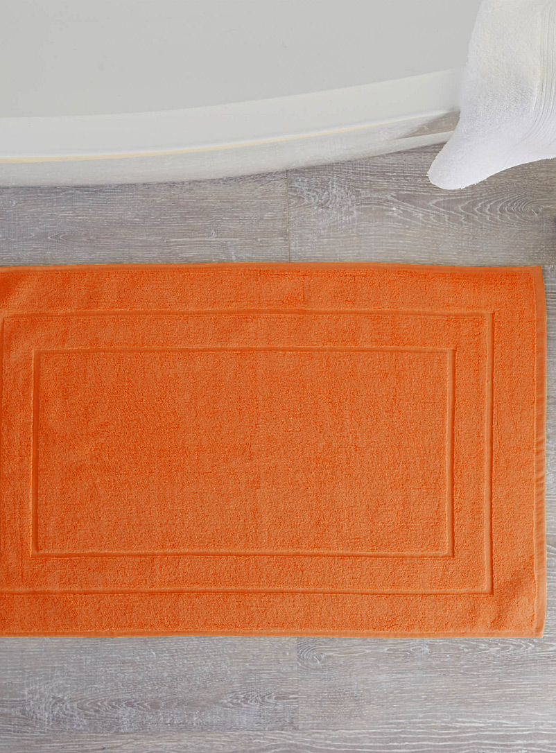 Turkish cotton bath mat  50 x 80 cm - Bath Rugs - Tangerine