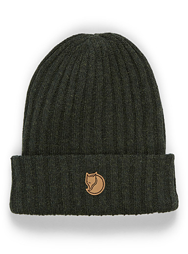 Fjällräven Mossy Green Logo patch wool tuque for women