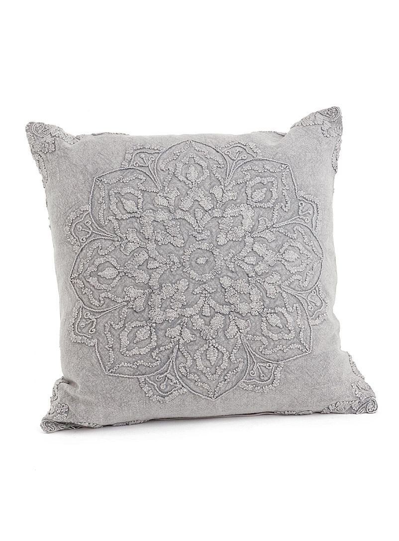 Simons Maison Light Grey Mandala embroidery cushion  50 x 50 cm