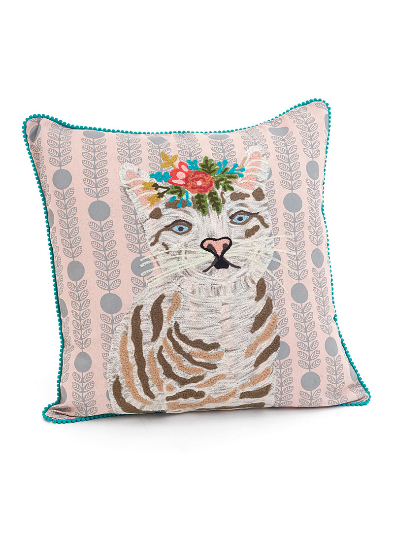 Simons Maison Assorted Feline embroidery cushion