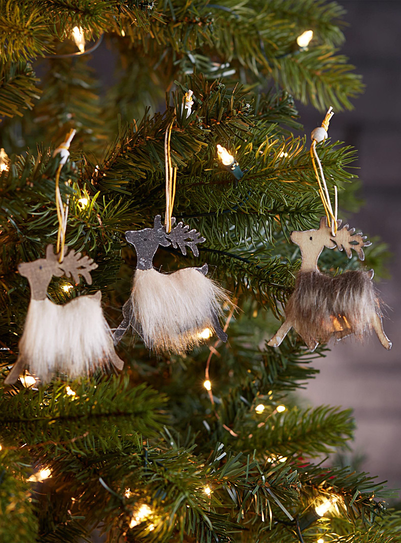 Rustic reindeer ornaments  Set of 3